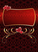Card with decorative hearts — Stockvector