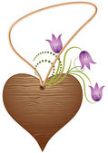 Valentine wooden heart with flowers — Stock Vector