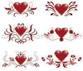 Set of decorative hearts — Stock Vector