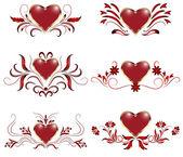 Set of decorative hearts — Stock Vector