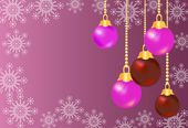 Shiny colorful christmas balls on purple background — Stock Vector