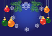Shiny colorful christmas balls on blue background — Stock Vector