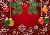 Bunte weihnachten kugeln auf rotem grund — Stockvektor