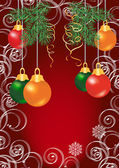 Colorful christmas balls on red background — Vector de stock