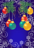 Shiny colorful christmas balls on blue background — Stockvector