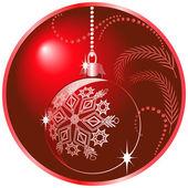 Shiny red christmas ball — Stock Vector
