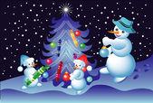 Christmas card with snowmen — Stock Vector