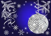 Glanzende kerstmis bal op blauwe achtergrond — Stockvector