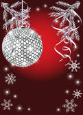 Shiny christmas ball on red background — Vector de stock