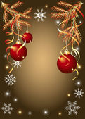 Shiny red christmas balls — Stock Vector