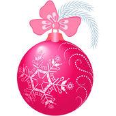 Bola de navidad rosa brillante — Vector de stock
