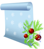 Christmas background with parchment and balls — Cтоковый вектор