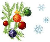 Bolas de navidad coloridos brillantes sobre fondo blanco — Vector de stock