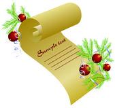 Fondo de navidad con bolas y pergamino — Vector de stock
