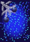 Glänzend blau weihnachtskugel auf blauem hintergrund — Stockvektor
