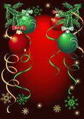 Bolas de natal coloridas sobre fundo vermelho — Vetorial Stock