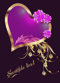 Card with decorative hearts — Vector de stock