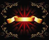 Golden ribbon on dark background — Stock Vector