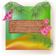 Wooden texture with palm branch and flowers. — Stock Vector