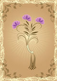 Illustration - Card in retro style with meadow flower — Stock Vector