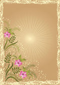 Illustration - Card in retro style with meadow flower — Cтоковый вектор