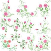 Set of ten bouquets roses — Stock Vector