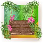 Struttura in legno con ramo di palma e fiori. — Vettoriale Stock