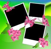 Page layout photo album with flowers and butterfly — Stock Vector