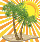 Palms trees and sun — Stock Vector