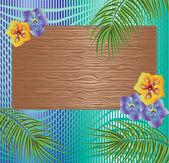 Dřevěná konstrukce s palmovou ratolestí a květiny — Stock vektor