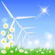Wind turbines — Vector de stock #29857045