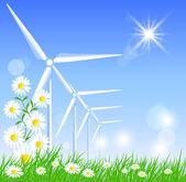 风力涡轮机 — 图库矢量图片