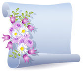 Parchment with flowers — Vector de stock