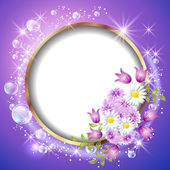Round frame and flowers — Vector de stock
