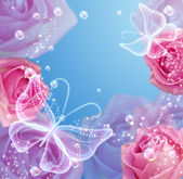 Růže a motýli — Stock fotografie