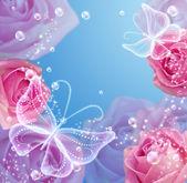 Rosor och fjärilar — Stockfoto