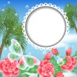 Design photoalbum with round photoframe. Landscape with palm trees, flowers and transparent butterfly. — Stock Vector