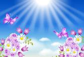 Flores, borboletas e sol — Vetor de Stock