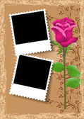 Page layout photo album with rose — Stock Vector