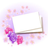 Background with paper and roses for insert text or photo — Stock Vector