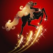 Galloping black horse with golden mane on red background — Stock Vector