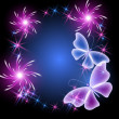 Glowing background with butterflies and stars — Stockvector  #32997885