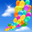 Balloons in the blue clouds sky — Stock Vector