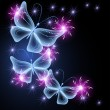 Glowing background with butterflies and stars — Stock Vector