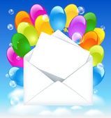 Open envelope with colorful balloons and letter in the clouds sky — Vector de stock