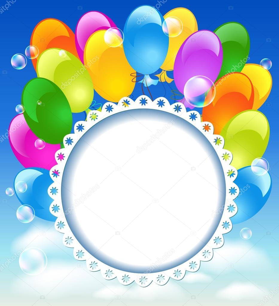 Biglietto di auguri con palloncini nel cielo blu - Immagine con palloncini ...
