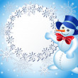 Christmas background with snowman and signboard — Stock Vector
