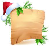 旧羊皮纸和圣诞帽子 — 图库矢量图片