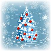 Vánoční kožešin strom s sněhové vločky — Stock vektor
