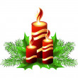 Stock Vector: Christmas burning candle